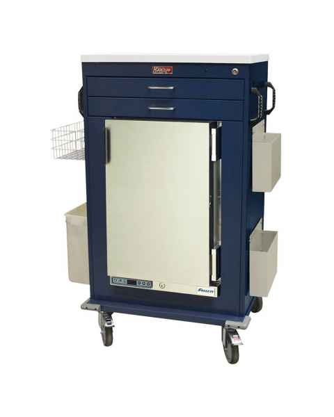 Harloff Model MH5200K Malignant Hyperthermia Cart with 1.8 Cubic Feet Follett Refrigerator, Two Drawers, Key Lock & Accessories