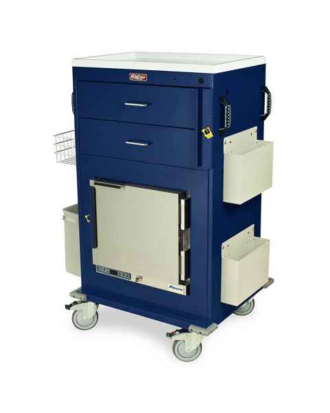 Harloff Model MH5216B Malignant Hyperthermia Cart with 1.0 Cubic Feet Follett Refrigerator, Two Drawers, Breakaway Lock & Accessories