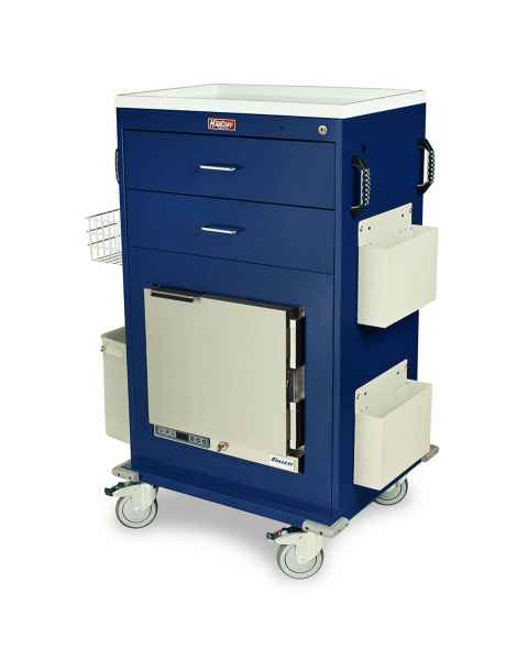 Harloff Model MH5216K Malignant Hyperthermia Cart with 1.0 Cubic Feet Follett Refrigerator, Two Drawers, Key Lock & Accessories