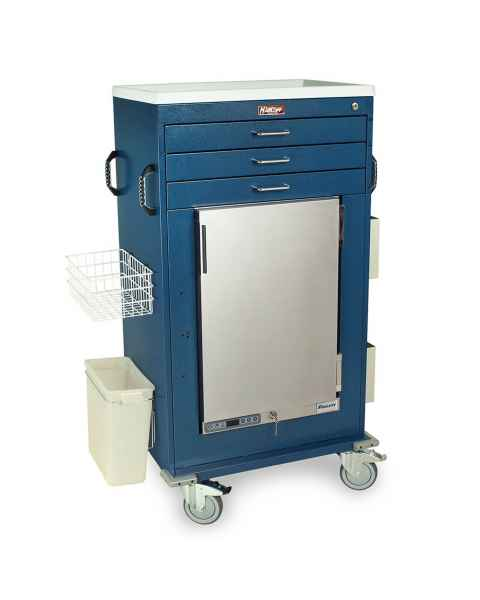 Harloff Malignant Hyperthermia Cart with 1.8 Cubic Feet Follett Refrigerator, Three Drawers, Key Lock & Accessories