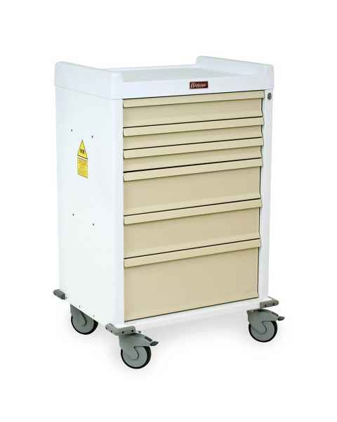 MRI Anesthesia Cart 6 Drawer - Standard Package with Key Lock
