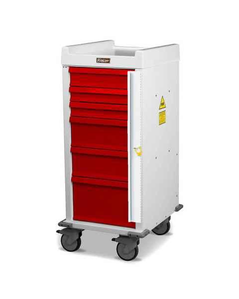 Harloff MRN6B Narrow Body MR-Conditional Emergency Cart Six Drawer with Breakaway Lock