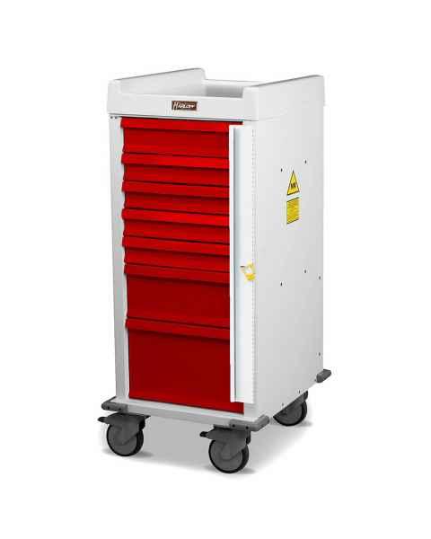 Harloff MRN7B MR-Conditional Narrow Body Emergency Cart 7 Drawer Breakaway Lock