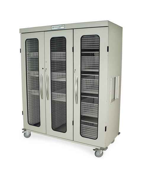 Harloff Medstor Max Triple Column Medical Storage Cabinet with Glass Doors, Key Lock (PLEASE NOTE, shelves and wire baskets are NOT included)