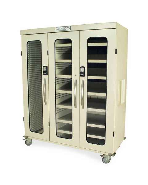 Harloff Medstor Max Triple Column Medical Storage Cabinet with Double Wide Open Right Column, Glass Doors, Electronic Keypad Lock