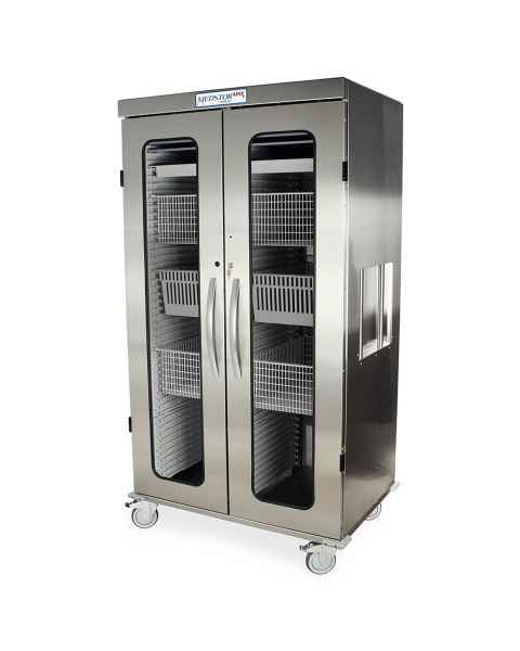 Harloff Medstor Max Stainless Steel Double Column Medical Storage Cabinet with Glass Doors, Key Lock