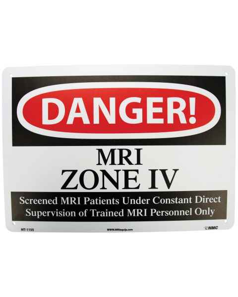 """DANGER MRI Zone IV"" Plastic Sign"