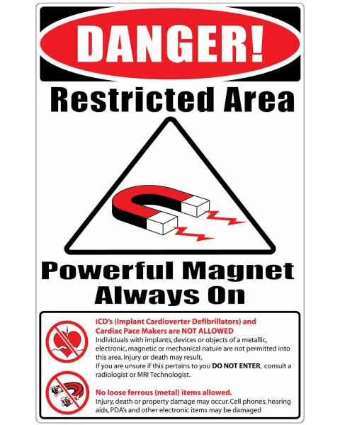 "MRI Safe Plastic Warning Sign ""Items Not Allowed"" - English"