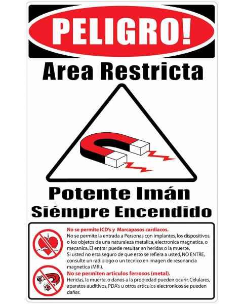 "MRI Safe Plastic Warning Sign ""Items Not Allowed"" - Spanish"