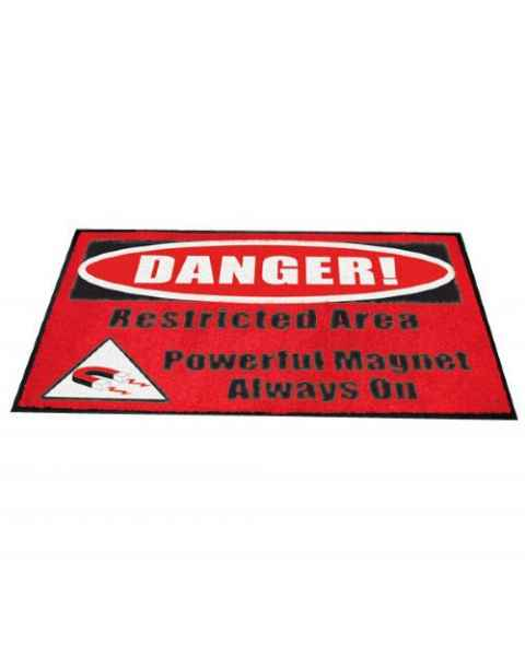 """DANGER! Restricted Area Powerful Magnet Always On"" MRI Non-Magnetic Carpeted Floor Mat"