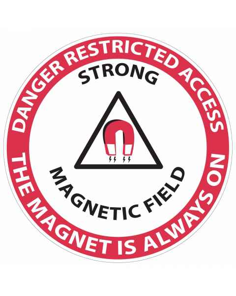 """Danger Restricted Access Strong Magnetic Field"" MRI Non-Magnetic Slip-Guard Floor Sticker"