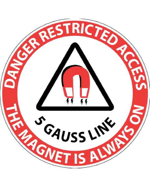 """Danger Restricted Access 5 Gauss Line"" MRI Non-Magnetic Sticker"