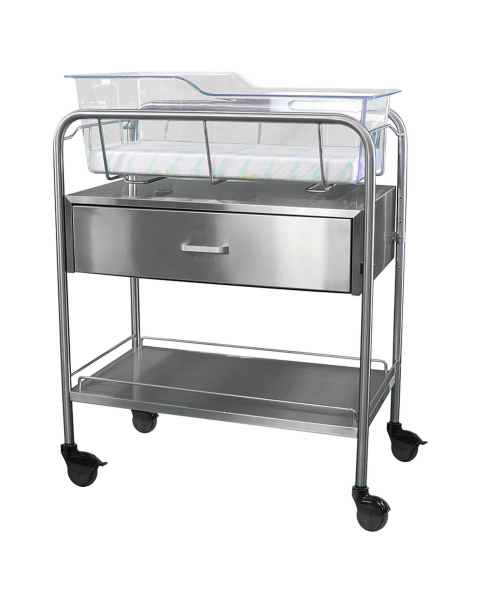 Stainless Steel Hospital Bassinet Carrier With Drawer & Bottom Shelf