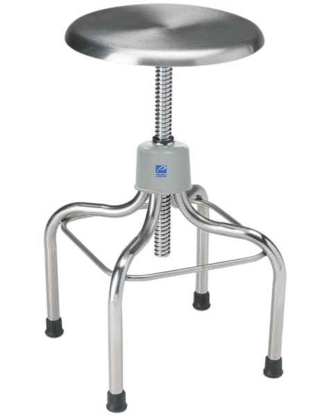 Pedigo Adjustable Stainless Steel Stool with Stainless Steel Contoured Seat