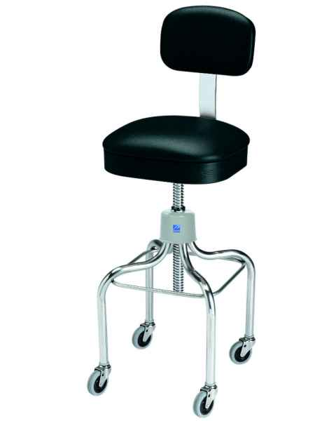 Pedigo Adjustable Stainless Steel Stool with Square Cushioned Seat, Backrest & Casters