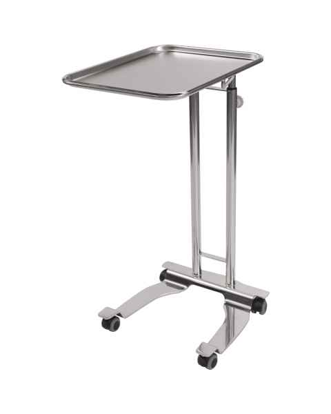 "Pedigo P-1069-A-SS Stainless Steel 4-Wheel Base Hand Operated Mayo Stand With 16.25"" x 21.25"" Tray"