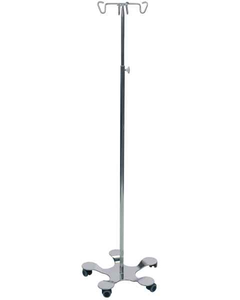 Pedigo Hand Operated 5-Leg Base SS IV Stand 4-Hook
