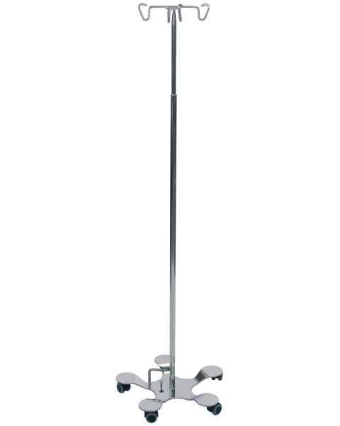 Pedigo Foot Operated 5-Leg Base SS IV Stand 4-Hook