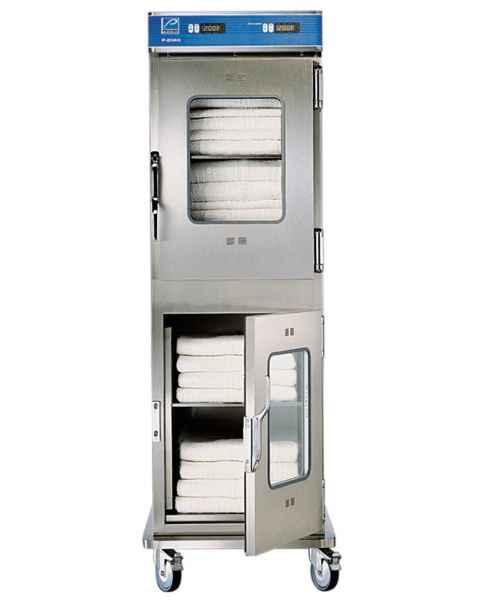 Pedigo Blanket Warming Dual-Cabinet - 7.7 Cubic Feet Per Compartment - Window Glass Door