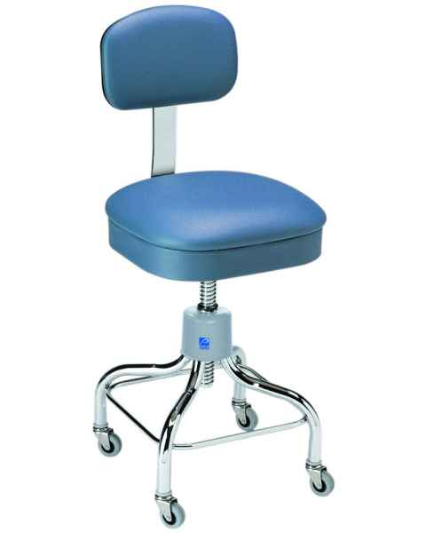Pedigo Adjustable Square Seat Chrome Stool With Backrest & Casters