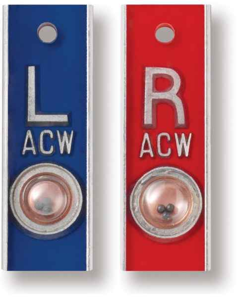 "Aluminum Position Indicator Markers - 5/8"" ""L"" & ""R"" With Initials - Vertical"
