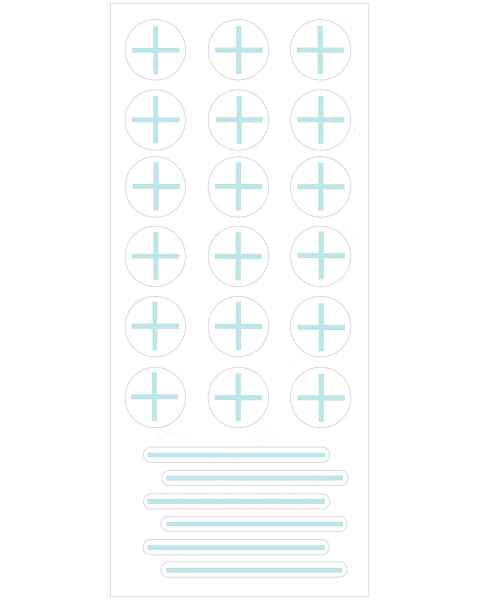 PortalMark Radiation Treatment Isocenter/Field Line Sheet Labels for Dark Skin Surfaces