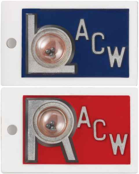"Plastic Position Indicator Markers - 7/8"" ""L"" & ""R"" With Initials - Horizontal"