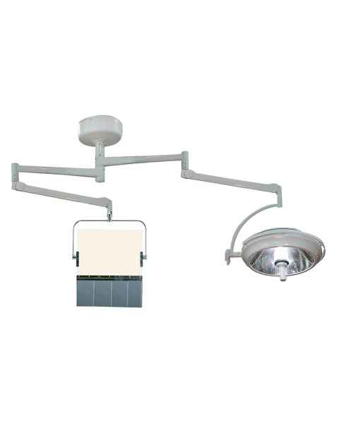 Model PTO-005 Ceiling Mounted Overhead Lead Acrylic Barrier with Lead Curtain and Light