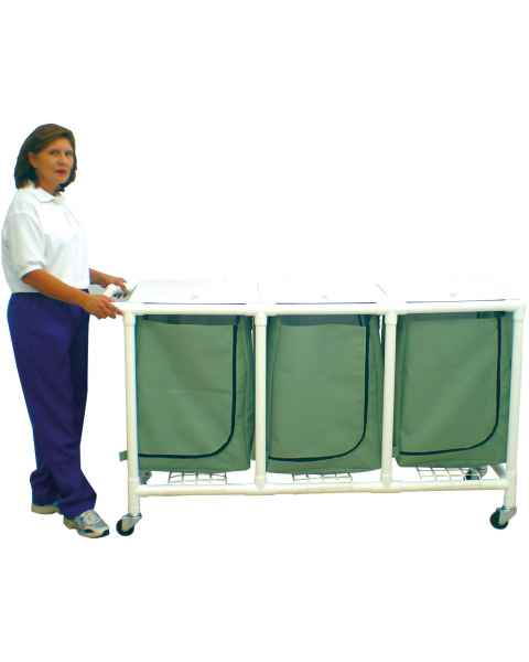 MRI-Conditional Triple PVC Hamper Cart - Large Capacity