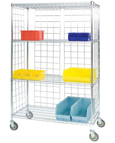Lakeside Round Post 3-Side Enclosed Wire Shelf Carts