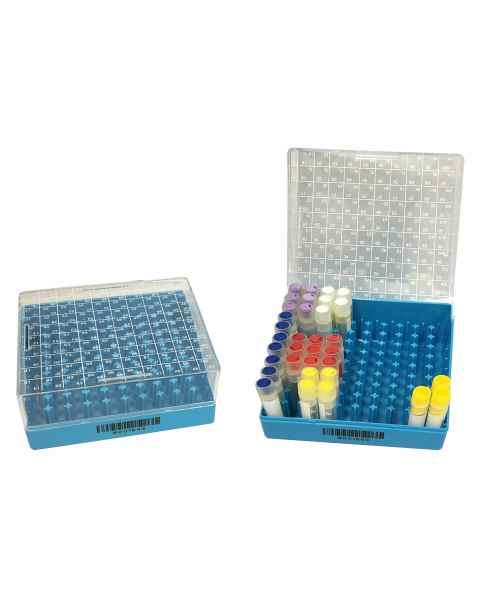 R2100 Polycarbonate Cryogenic Storage Box with Hinged Lid, 100-Place