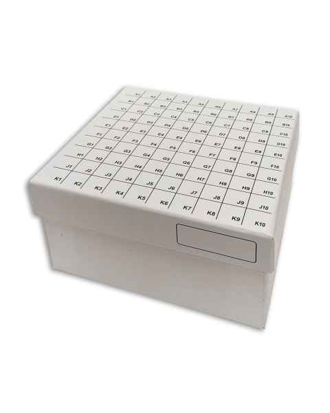 """3"""" FlipTop Cardboard Freezer Box 100-Place with Attached Hinged Lid - White"""