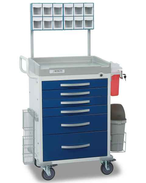 DETECTO Rescue Series Loaded Anesthesiology Medical Cart - 6 Blue Drawers