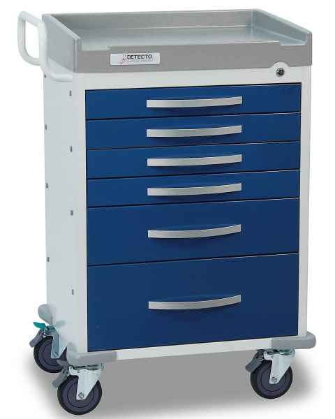 DETECTO Rescue Series Anesthesiology Medical Cart - 6 Blue Drawers
