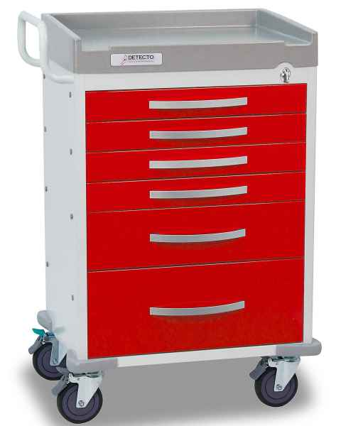 DETECTO Rescue Series ER Medical Cart - 6 Red Drawers