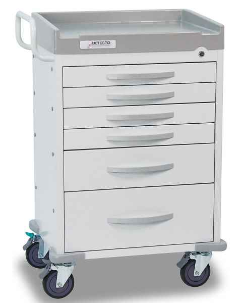 DETECTO Rescue Series General Purpose Medical Cart - 6 White Drawers