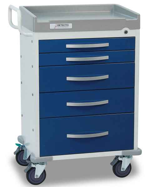 DETECTO Rescue Series Anesthesiology Medical Cart - 5 Blue Drawers