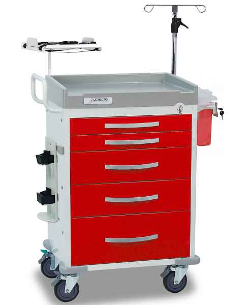 DETECTO Rescue Series Loaded ER Medical Cart 5 Red Drawers