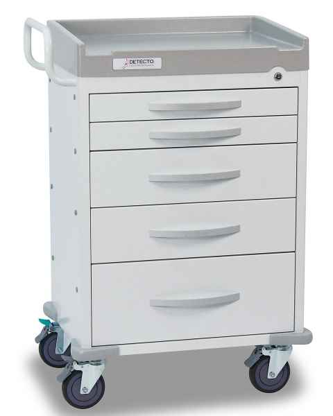 DETECTO Rescue Series General Purpose Medical Cart - 5 White Drawers
