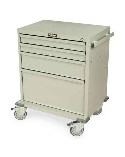 Harloff RRC344SD Rapid Response 4-Drawer Medical Cart with Key Lock - Sand Color