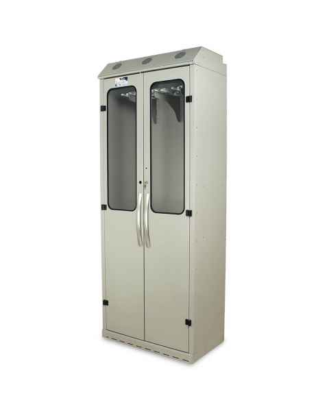 Harloff SC8036DRDP Light Gray Powder Coated Steel SureDry 16 Scope Drying Cabinet - Key Locking Tempered Glass Doors