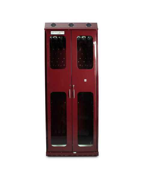 Harloff SC8136DRDP Burgundy Powder Coated Steel SureDry 16 Scope Drying Cabinet - Key Locking Tempered Glass Doors