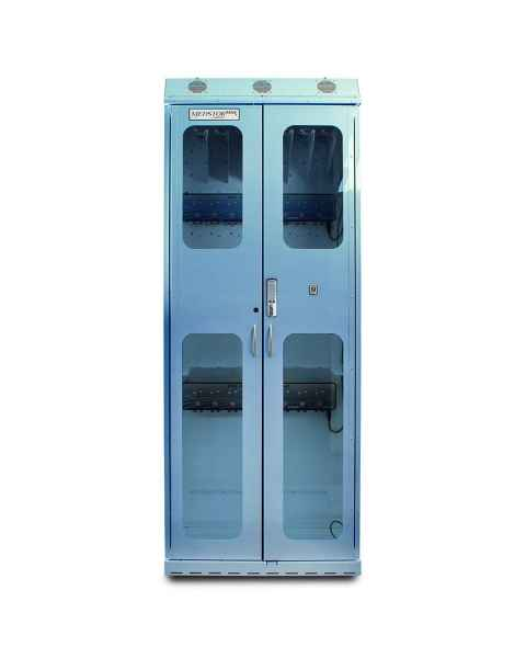 Harloff SC8136DREDP-DSS3316 Light Blue Powder Coated Steel SureDry 15 Scope Drying Cabinet with Dri-Scope Aid - Basic Electronic Push Button Locking Tempered Glass Doors
