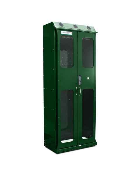Harloff SC8136DREDP Forest Green Powder Coated Steel SureDry 16 Scope Drying Cabinet - Basic Electronic Push Button Locking Tempered Glass Doors