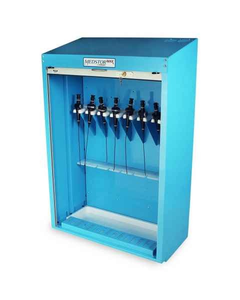 Harloff SCBR-8DP Powder Coated Steel 8 Scope Short Storage Cabinet with Drying Package - Key Locking Tambour Door