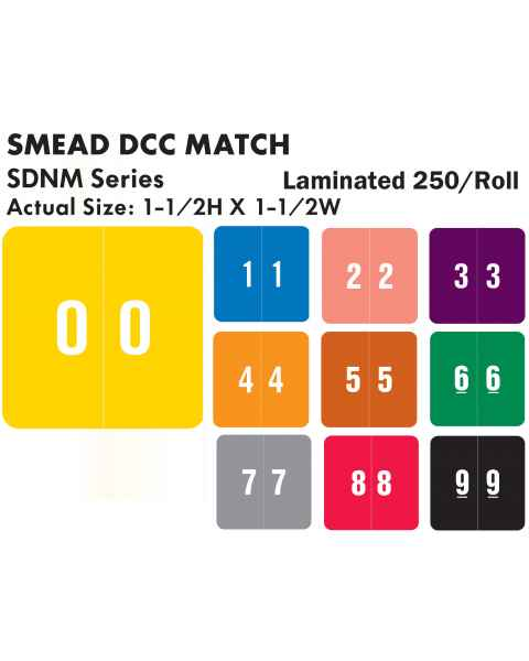 "Smead DCC Match SDNM Series Numeric Roll Color Code Labels - 1 1/2""H x 1 1/2""W"