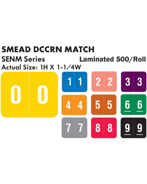 "Smead DCCRN Match SENM Series Numeric Roll Color Code Labels - 1""H x 1 1/4""W"