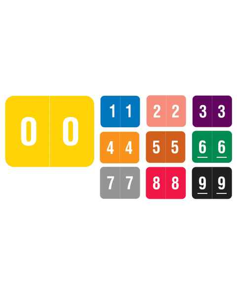 "Smead DCCRN Match SENM Series Numeric Roll Color Code Labels - 1""H x 1 1/4""W"