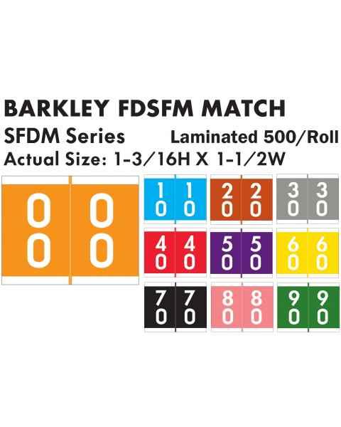 "Barkley FDSFM Match SFDM Series Double Digit Numeric Color Code Roll Labels - 1 3/16""H x 1 1/2""W"