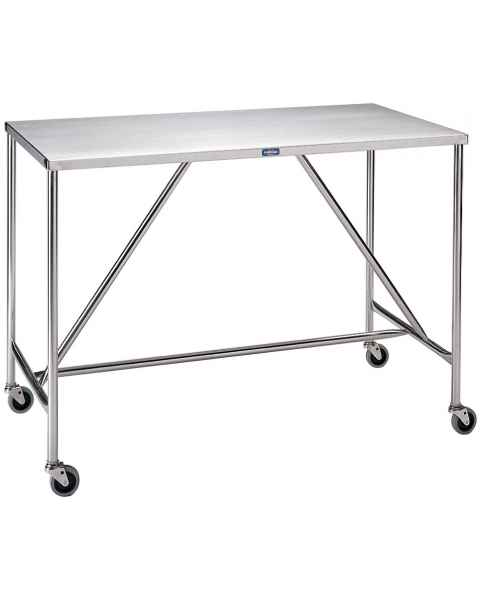 Pedigo Large-Sized Stainless Steel Instrument Table with H Brace
